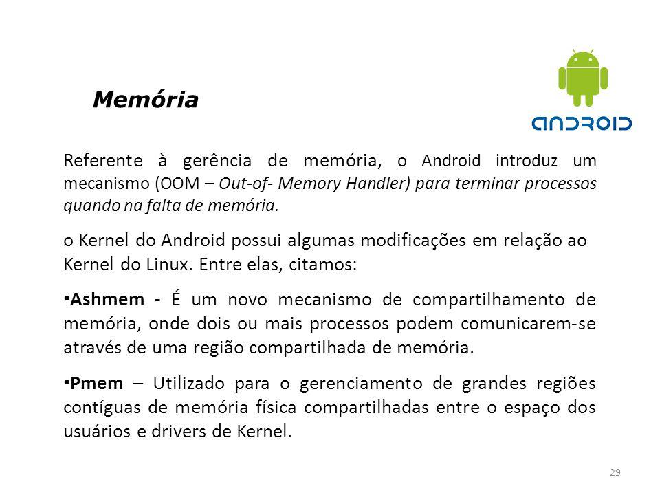 Memória 29 Referente à gerência de memória, o Android introduz um mecanismo (OOM – Out-of- Memory Handler) para terminar processos quando na falta de