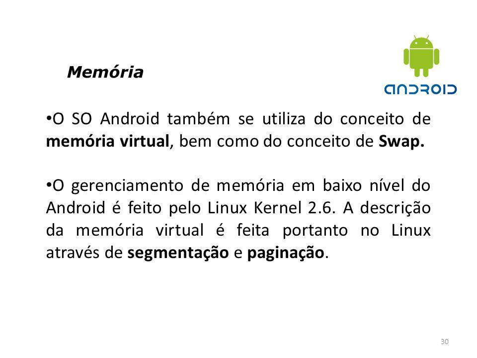 Memória 30 O SO Android também se utiliza do conceito de memória virtual, bem como do conceito de Swap. O gerenciamento de memória em baixo nível do A