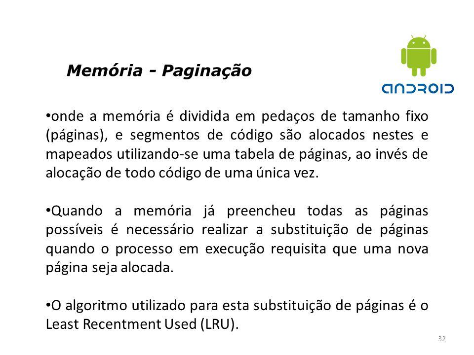 Memória - Paginação 32 onde a memória é dividida em pedaços de tamanho fixo (páginas), e segmentos de código são alocados nestes e mapeados utilizando