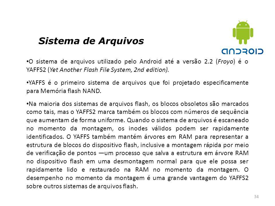 Sistema de Arquivos 34 O sistema de arquivos utilizado pelo Android até a versão 2.2 (Froyo) é o YAFFS2 (Yet Another Flash File System, 2nd edition).