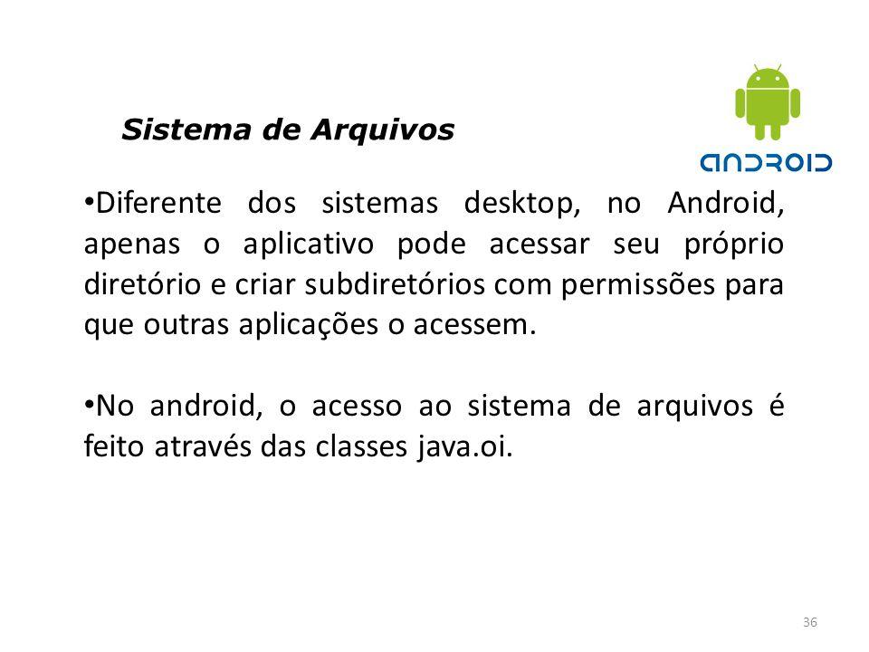 Sistema de Arquivos 36 Diferente dos sistemas desktop, no Android, apenas o aplicativo pode acessar seu próprio diretório e criar subdiretórios com pe