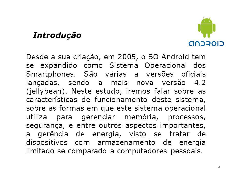 Introdução 4 Desde a sua criação, em 2005, o SO Android tem se expandido como Sistema Operacional dos Smartphones. São várias a versões oficiais lança