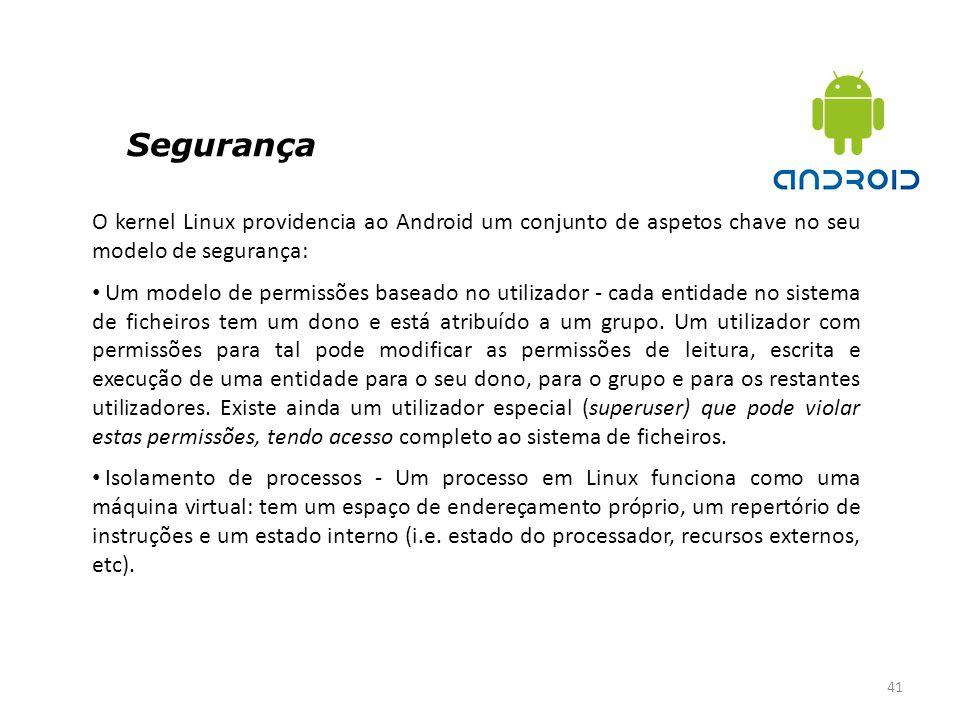 Segurança 41 O kernel Linux providencia ao Android um conjunto de aspetos chave no seu modelo de segurança: Um modelo de permissões baseado no utiliza