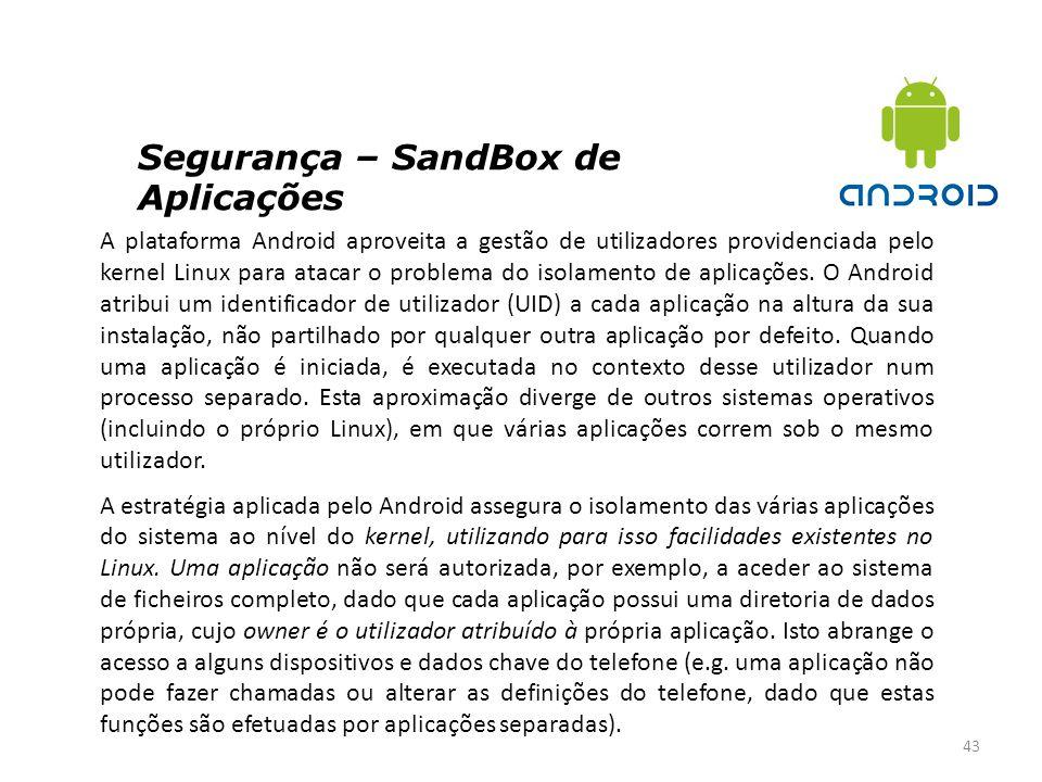 Segurança – SandBox de Aplicações 43 A plataforma Android aproveita a gestão de utilizadores providenciada pelo kernel Linux para atacar o problema do