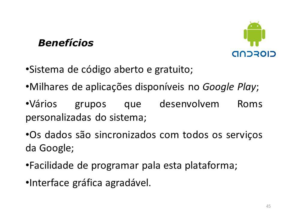 Benefícios 45 Sistema de código aberto e gratuito; Milhares de aplicações disponíveis no Google Play; Vários grupos que desenvolvem Roms personalizada