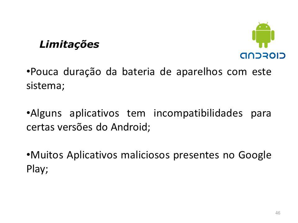 Limitações 46 Pouca duração da bateria de aparelhos com este sistema; Alguns aplicativos tem incompatibilidades para certas versões do Android; Muitos
