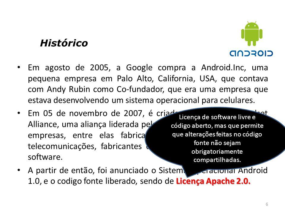 6 Em agosto de 2005, a Google compra a Android.Inc, uma pequena empresa em Palo Alto, California, USA, que contava com Andy Rubin como Co-fundador, qu