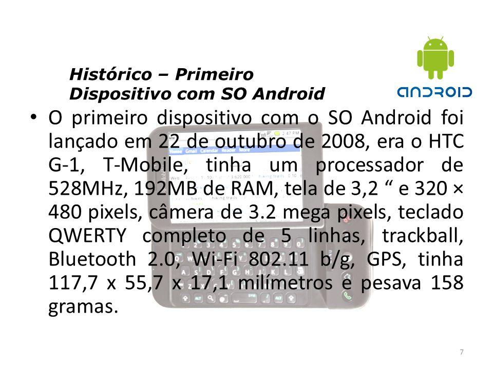 Histórico – Primeiro Dispositivo com SO Android 7 O primeiro dispositivo com o SO Android foi lançado em 22 de outubro de 2008, era o HTC G-1, T-Mobil