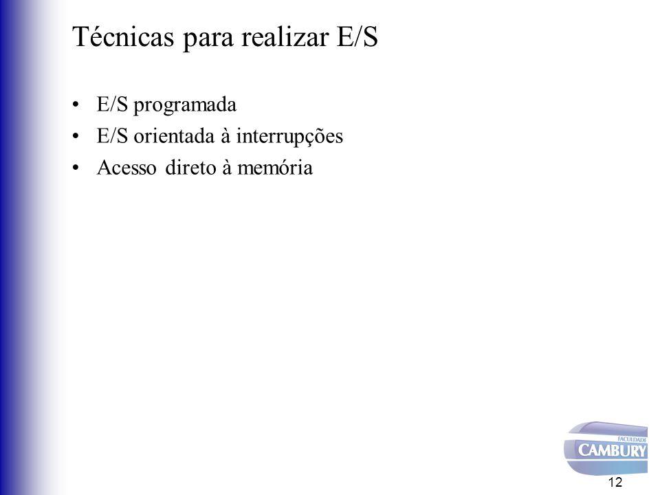 E/S programada Toda interação entre o processador e o controlador é de responsabilidade do programador Ciclo de funcionamento –Envia comando ao controlador –Espera término do comando Processador espera o término da operação 13