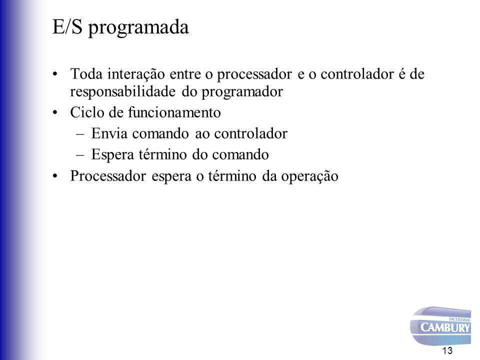 E/S orientada à interrupção Processador inicia a operação de E/S Enquanto interrupção não ocorre, a CPU pode executar outras tarefas (portanto, evita desperdício de tempo de CPU) 14