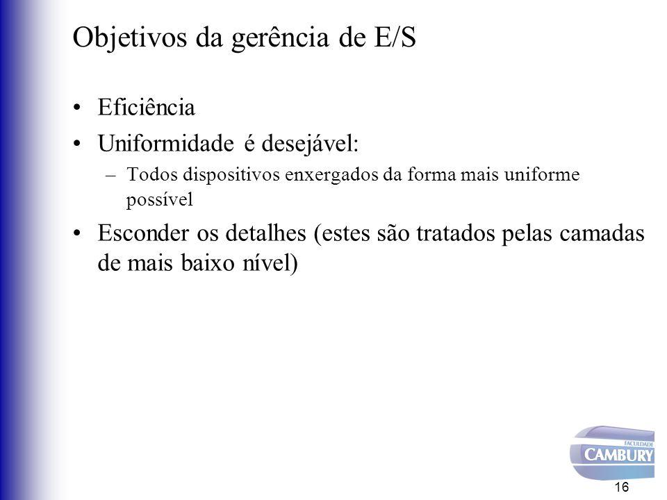 Princípios básicos de sw de E/S Subsistema de E/S é complexo dada a diversidade de periféricos Padronizar ao máximo para reduzir número de rotinas –Novos dispositivos não alteram a visão do usuário em relação ao SO Organizado em camadas 17