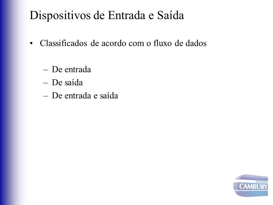 Dispositivos de Entrada e Saída Classificados como: –Orientados a caractere Unidade de transferência é o caractere –Ex.