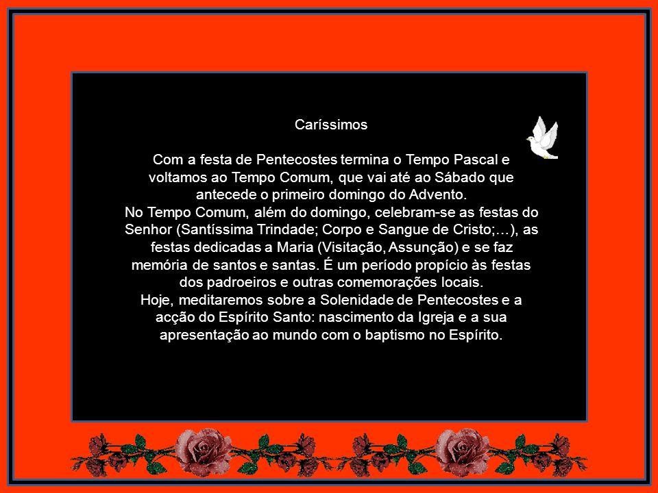 Caríssimos Com a festa de Pentecostes termina o Tempo Pascal e voltamos ao Tempo Comum, que vai até ao Sábado que antecede o primeiro domingo do Advento.