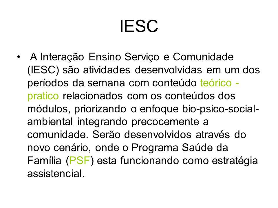 IESC A Interação Ensino Serviço e Comunidade (IESC) são atividades desenvolvidas em um dos períodos da semana com conteúdo teórico - pratico relaciona