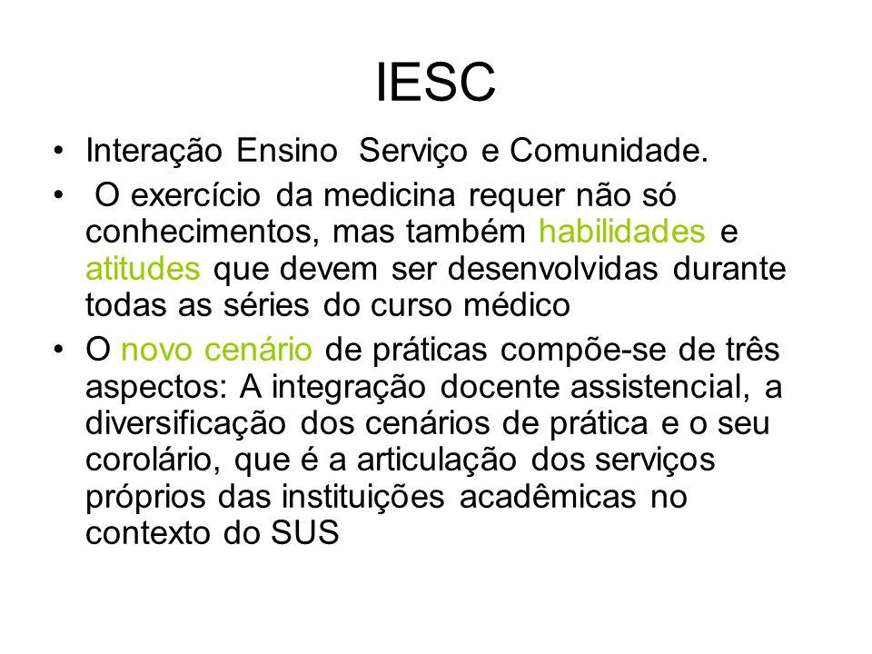 IESC Interação Ensino Serviço e Comunidade. O exercício da medicina requer não só conhecimentos, mas também habilidades e atitudes que devem ser desen