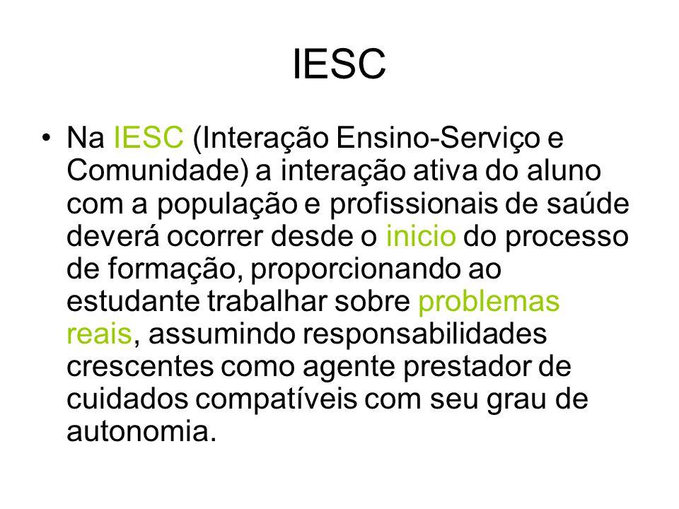 IESC Na IESC (Interação Ensino-Serviço e Comunidade) a interação ativa do aluno com a população e profissionais de saúde deverá ocorrer desde o inicio