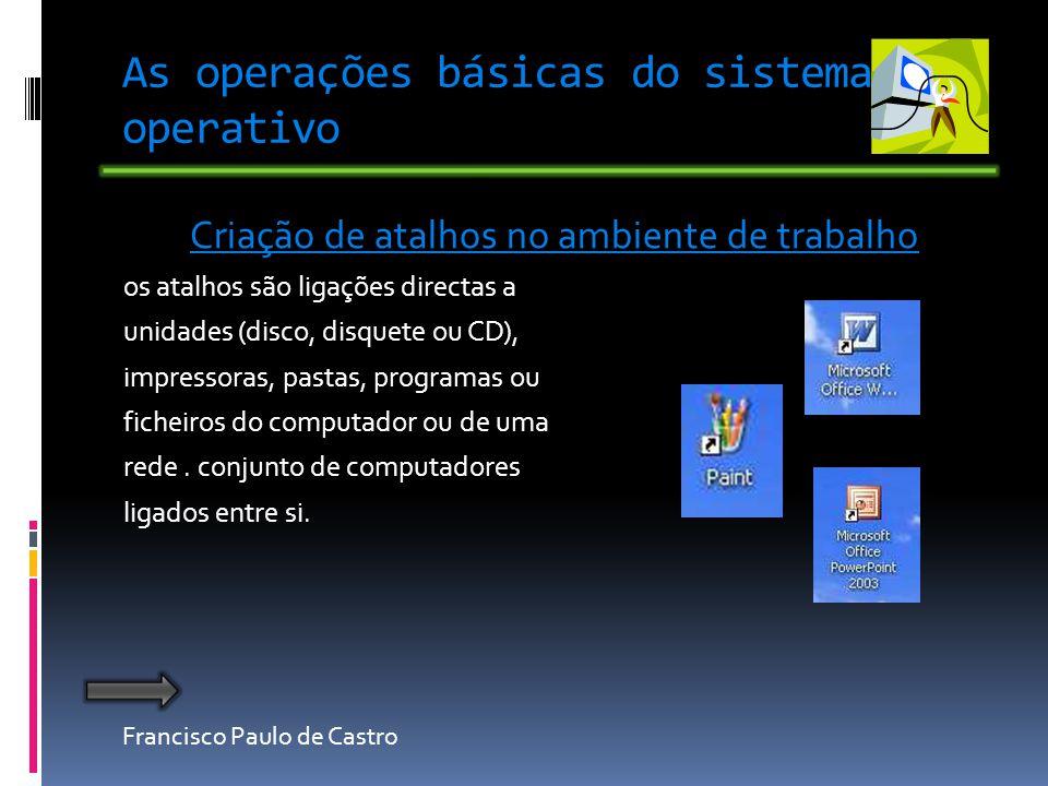 Francisco Paulo de Castro As operações básicas do sistema operativo Criação de atalhos no ambiente de trabalho os atalhos são ligações directas a unidades (disco, disquete ou CD), impressoras, pastas, programas ou ficheiros do computador ou de uma rede.