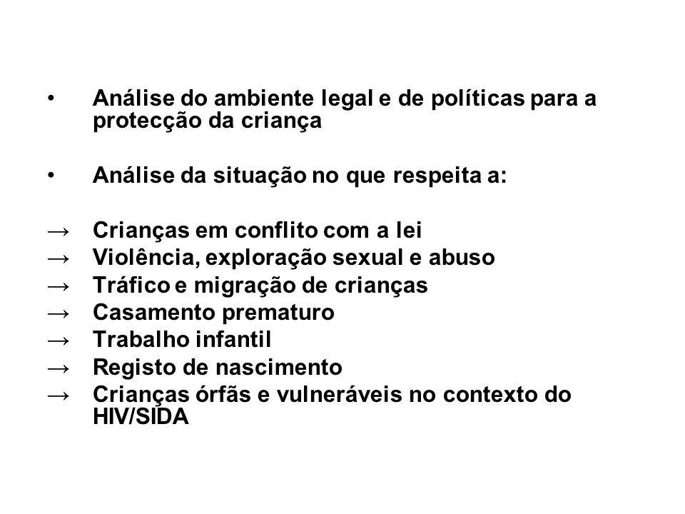 Análise do ambiente legal e de políticas para a protecção da criança Análise da situação no que respeita a: Crianças em conflito com a lei Violência,