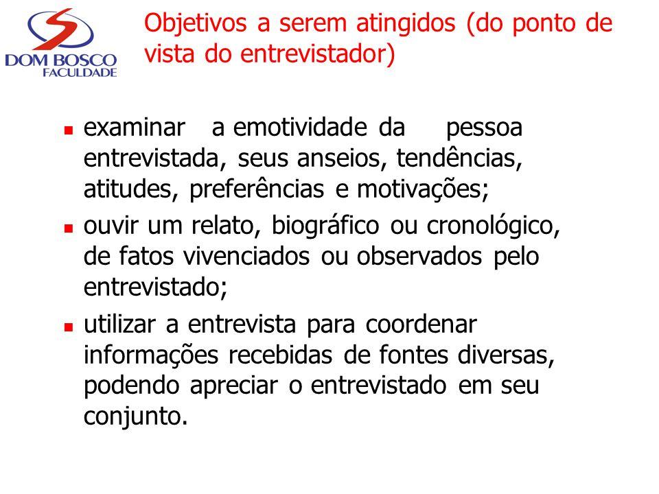 Objetivos a serem atingidos (do ponto de vista do entrevistador) examinar a emotividade da pessoa entrevistada, seus anseios, tendências, atitudes, pr