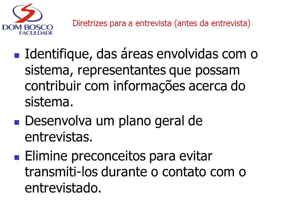 Diretrizes para a entrevista (antes da entrevista) Identifique, das áreas envolvidas com o sistema, representantes que possam contribuir com informaçõ