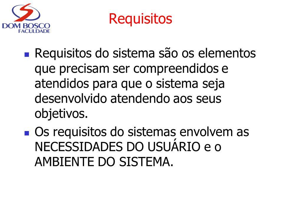 Requisitos Requisitos do sistema são os elementos que precisam ser compreendidos e atendidos para que o sistema seja desenvolvido atendendo aos seus o