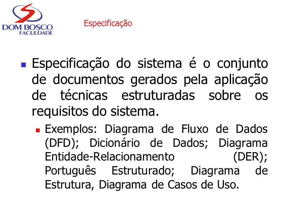 Especificação Especificação do sistema é o conjunto de documentos gerados pela aplicação de técnicas estruturadas sobre os requisitos do sistema. Exem