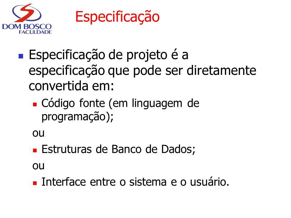 Especificação Especificação de projeto é a especificação que pode ser diretamente convertida em: Código fonte (em linguagem de programação); ou Estrut
