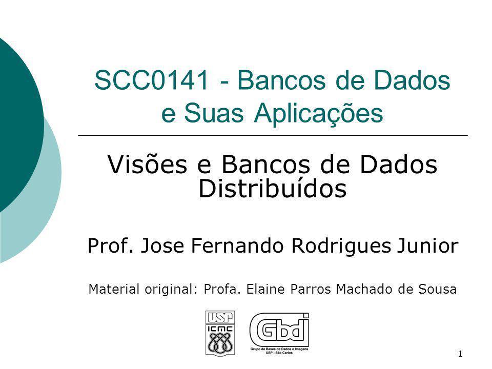 SCC0141 - Bancos de Dados e Suas Aplicações Visões e Bancos de Dados Distribuídos Prof. Jose Fernando Rodrigues Junior Material original: Profa. Elain