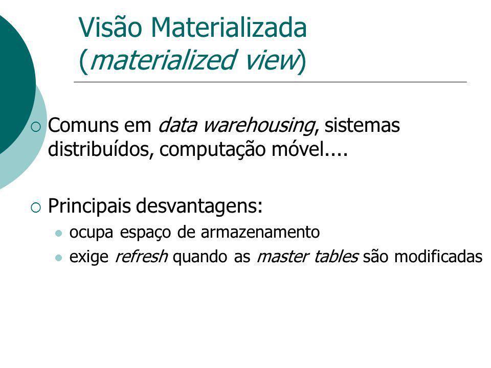 Visão Materializada (materialized view) Comuns em data warehousing, sistemas distribuídos, computação móvel.... Principais desvantagens: ocupa espaço
