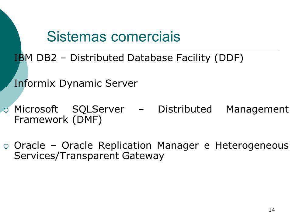 Sistemas comerciais IBM DB2 – Distributed Database Facility (DDF) Informix Dynamic Server Microsoft SQLServer – Distributed Management Framework (DMF)