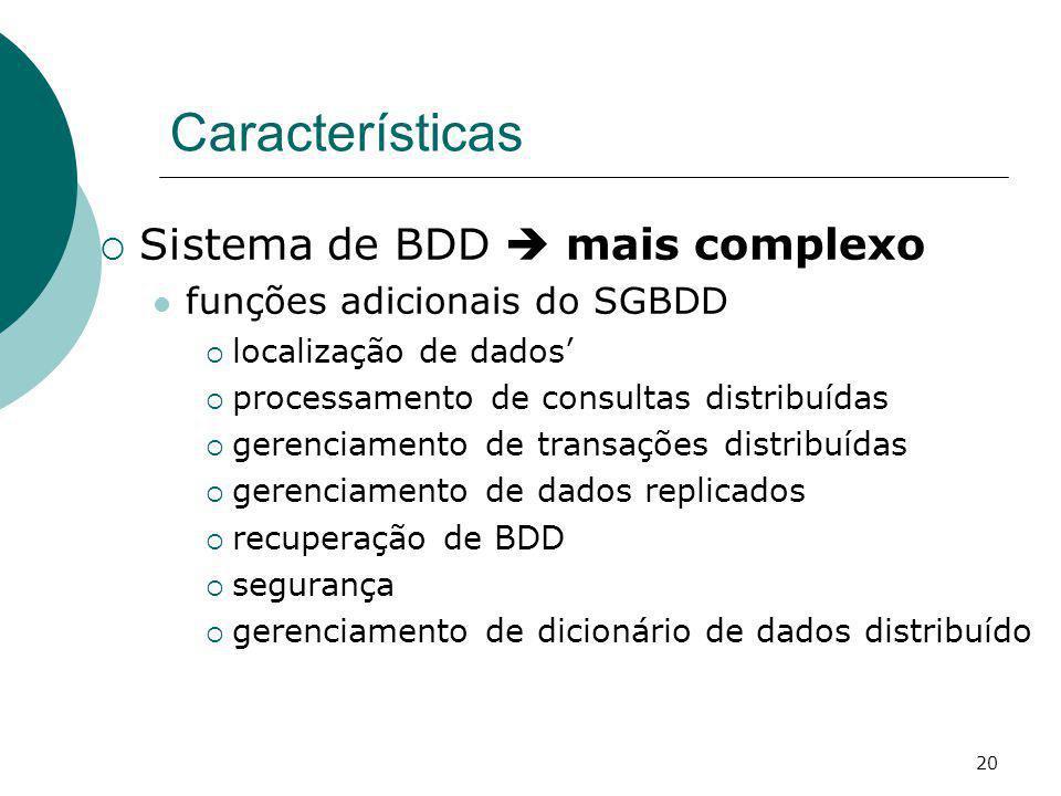Características Sistema de BDD mais complexo funções adicionais do SGBDD localização de dados processamento de consultas distribuídas gerenciamento de