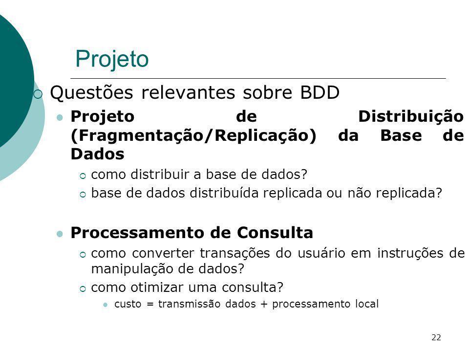 Projeto Questões relevantes sobre BDD Projeto de Distribuição (Fragmentação/Replicação) da Base de Dados como distribuir a base de dados? base de dado