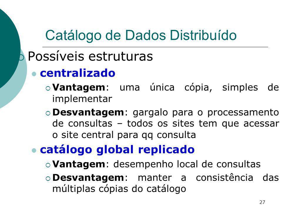 Catálogo de Dados Distribuído Possíveis estruturas centralizado Vantagem: uma única cópia, simples de implementar Desvantagem: gargalo para o processa