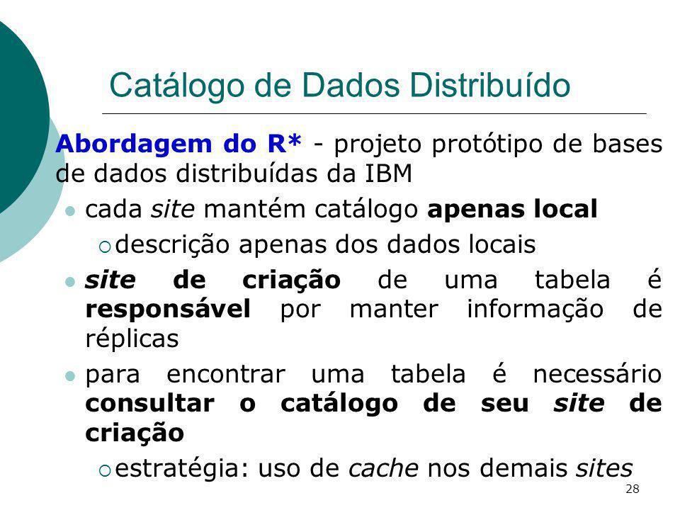 Catálogo de Dados Distribuído Abordagem do R* - projeto protótipo de bases de dados distribuídas da IBM cada site mantém catálogo apenas local descriç