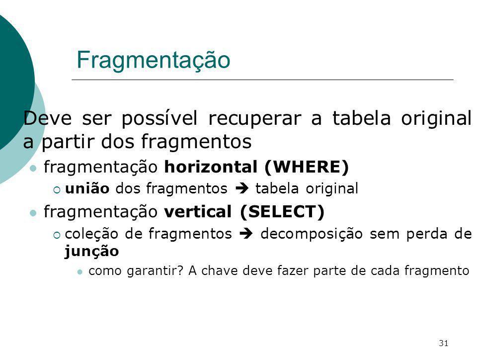 Fragmentação Deve ser possível recuperar a tabela original a partir dos fragmentos fragmentação horizontal (WHERE) união dos fragmentos tabela origina
