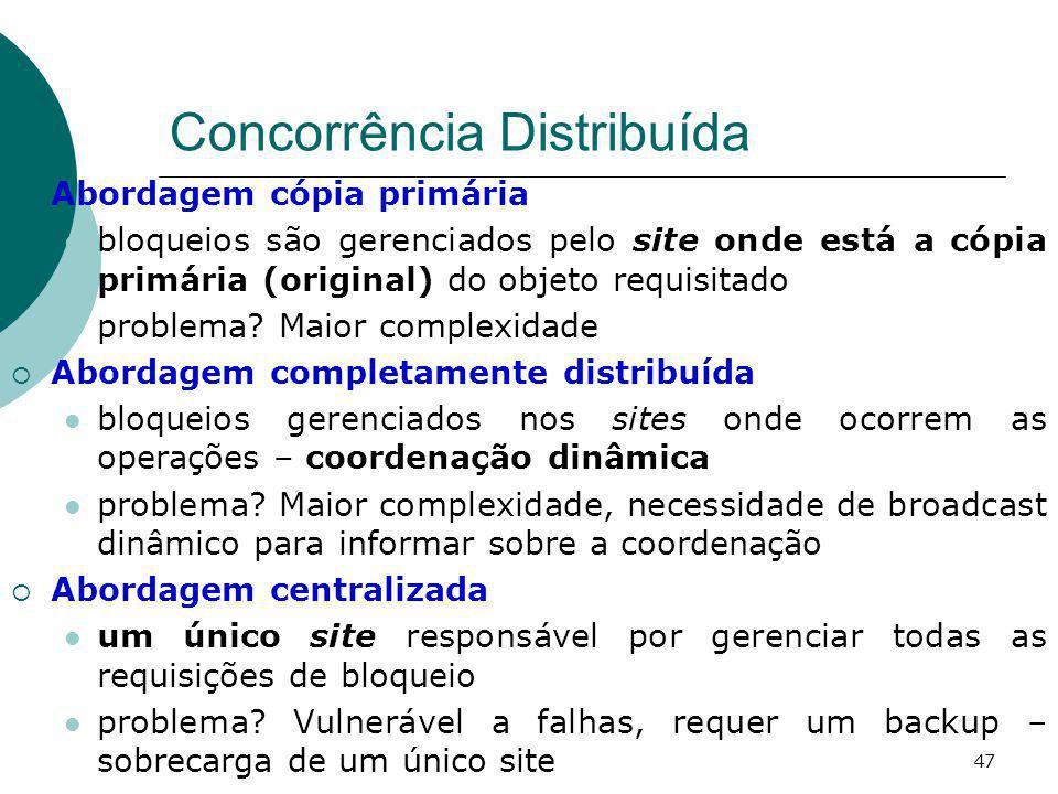 Concorrência Distribuída Abordagem cópia primária bloqueios são gerenciados pelo site onde está a cópia primária (original) do objeto requisitado prob