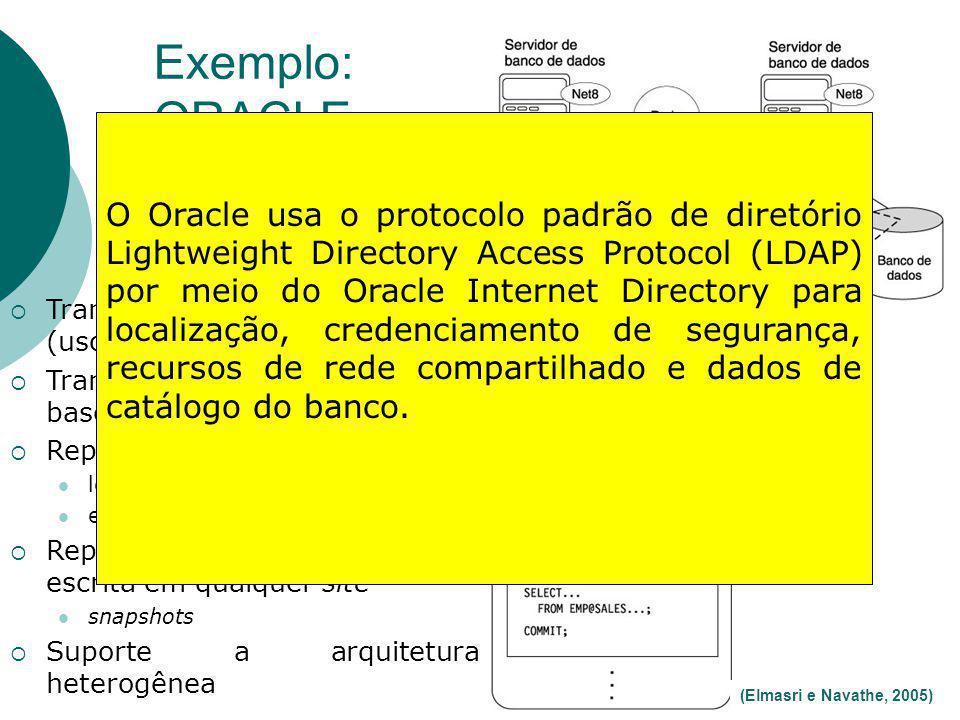 Exemplo: ORACLE 51 (Elmasri e Navathe, 2005) Transparência de localização (uso de LDAP) Transações distribuídas baseadas em 2PC Replicação básica leit