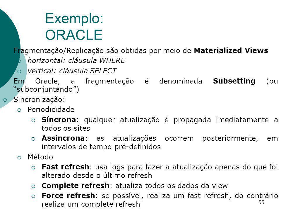 Exemplo: ORACLE 55 Fragmentação/Replicação são obtidas por meio de Materialized Views horizontal: cláusula WHERE vertical: cláusula SELECT Em Oracle,