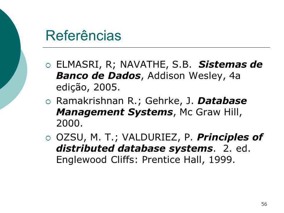 Referências ELMASRI, R; NAVATHE, S.B. Sistemas de Banco de Dados, Addison Wesley, 4a edição, 2005. Ramakrishnan R.; Gehrke, J. Database Management Sys
