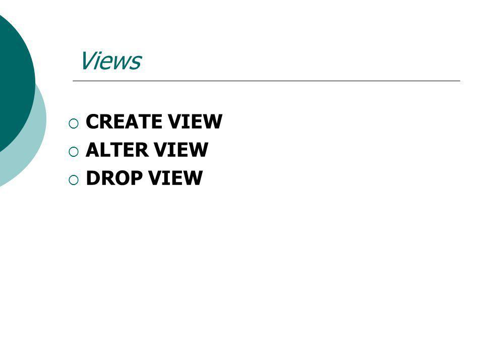 Views CREATE VIEW ALTER VIEW DROP VIEW