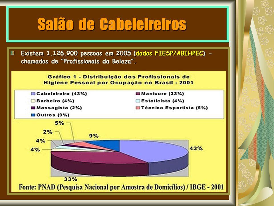 Salão de Cabeleireiros Existem 1.126.900 pessoas em 2005 (dados FIESP/ABIHPEC) - chamados de Profissionais da Beleza.