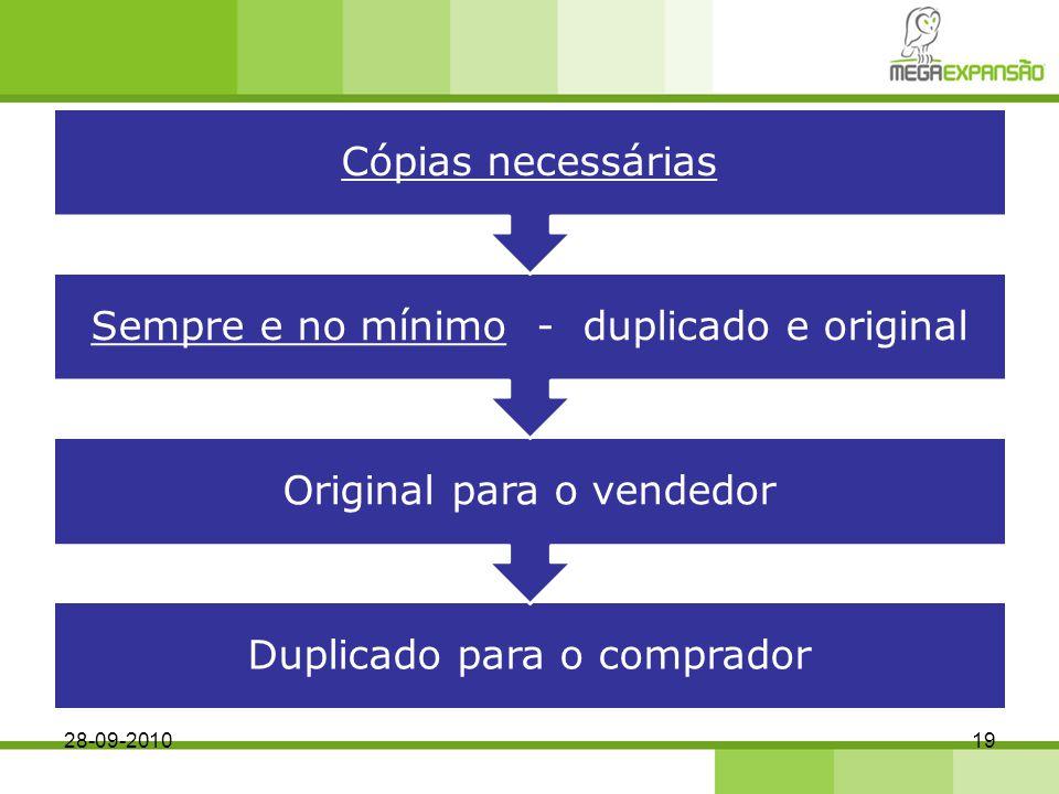 Duplicado para o comprador Original para o vendedor Sempre e no mínimo - duplicado e original Cópias necessárias 28-09-201019