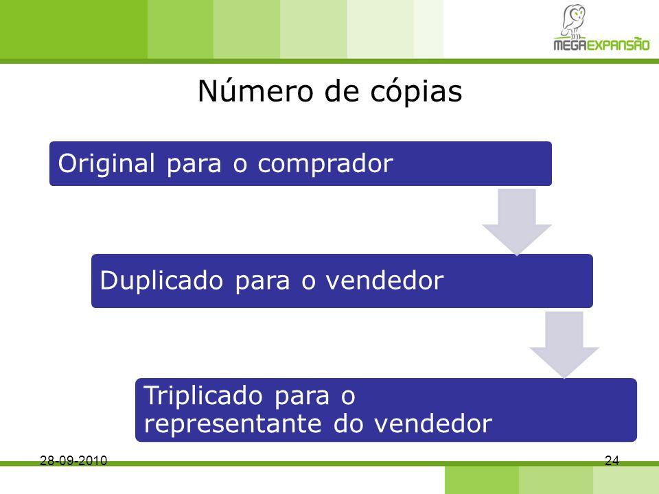 Número de cópias Original para o comprador Duplicado para o vendedor Triplicado para o representante do vendedor 28-09-201024