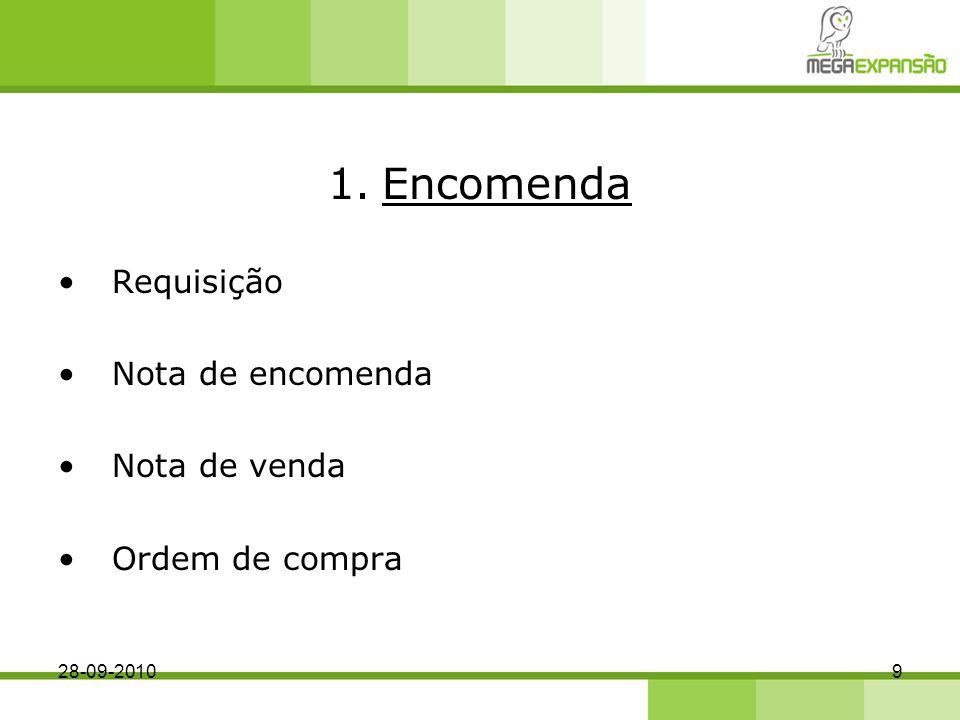 1.Encomenda Requisição Nota de encomenda Nota de venda Ordem de compra 28-09-20109