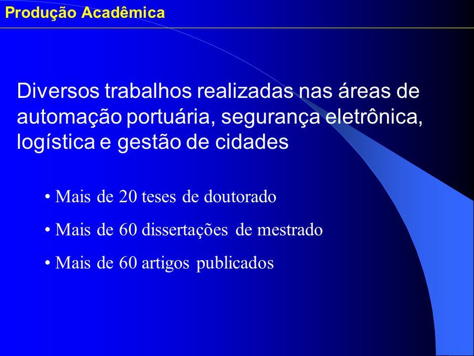 Produção Acadêmica Mais de 20 teses de doutorado Mais de 60 dissertações de mestrado Mais de 60 artigos publicados Diversos trabalhos realizadas nas á