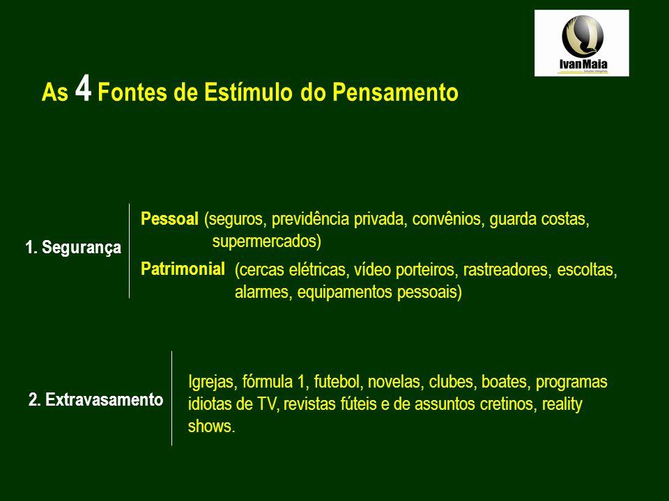 As 4 Fontes de Estímulo do Pensamento 1. Segurança Pessoal Patrimonial (cercas elétricas, vídeo porteiros, rastreadores, escoltas, alarmes, equipament