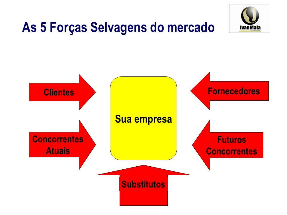 Sua empresa As 5 Forças Selvagens do mercado Clientes Concorrentes Atuais Futuros Concorrentes Fornecedores Substitutos