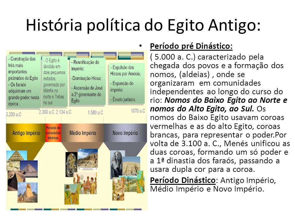 História política do Egito Antigo: Período pré Dinástico: ( 5.000 a. C.) caracterizado pela chegada dos povos e a formação dos nomos, (aldeias), onde