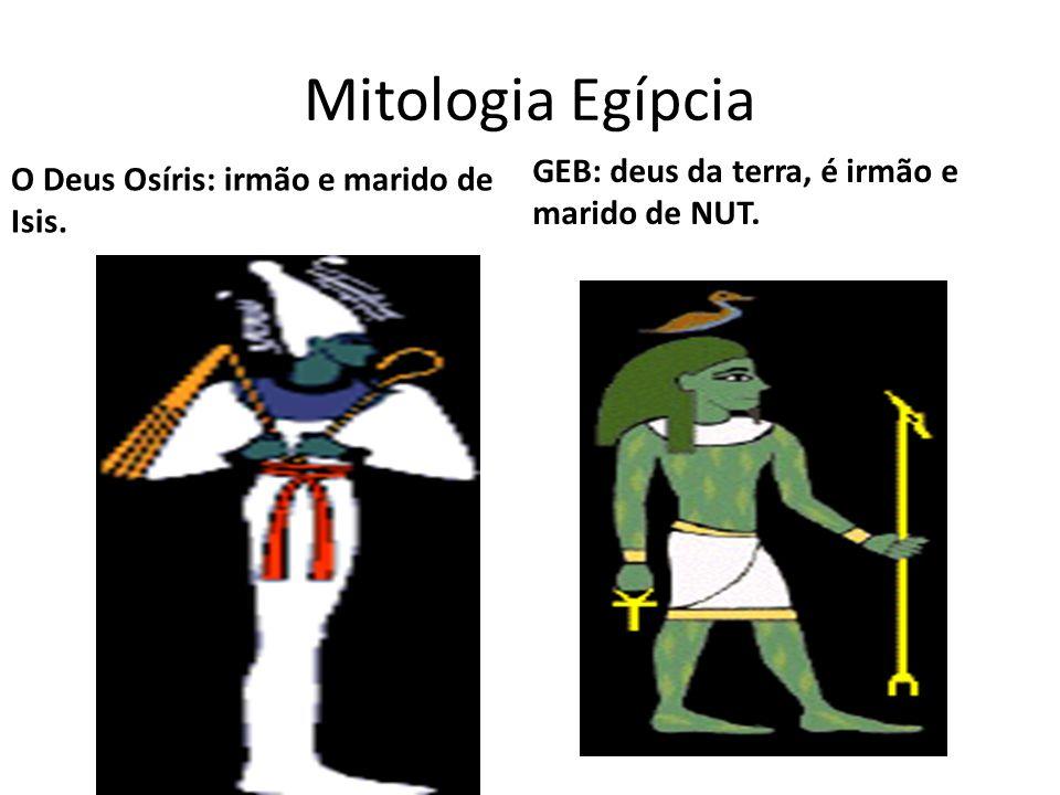 Mitologia Egípcia O Deus Osíris: irmão e marido de Isis. GEB: deus da terra, é irmão e marido de NUT.