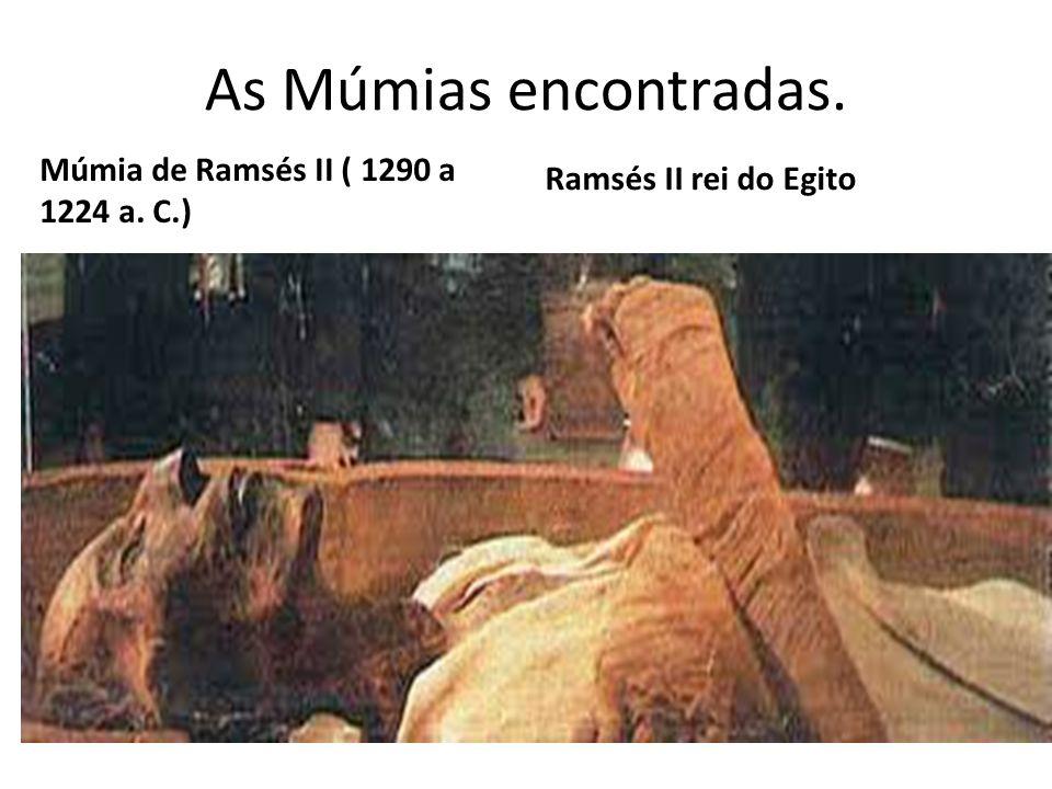 As Múmias encontradas. Múmia de Ramsés II ( 1290 a 1224 a. C.) Ramsés II rei do Egito